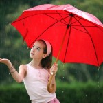 young pretty girl umbrella rain srinking